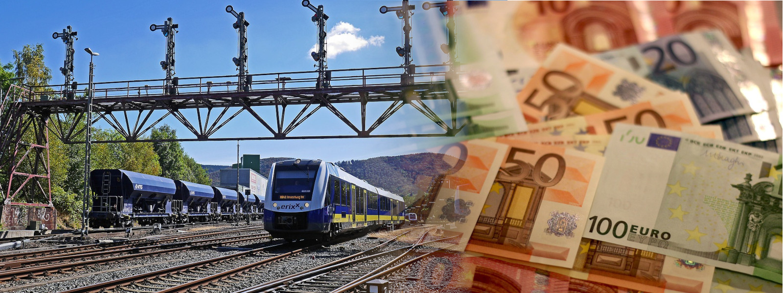 Collage of Erixx trainset at Bad Harzburg Exit Signals with Euro Bank Notes (© railML.org/Alexander Wolf with Pixabay images)